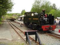 Vale of Rheidol No 8 lays over in the headshunt at Devils Bridge for some 30 minutes before running round the rake of carriages to form the 12.00 return to Aberystwyth on 30 May. <br><br>[David Pesterfield&nbsp;30/05/2012]