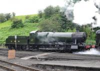 GWR 2-8-0 no 2857 in action at Bridgnorth on the Severn Valley Railway on 2 August 2012.<br><br>[Peter Todd&nbsp;02/08/2012]