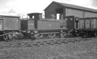 Veteran Johnson 1F 0-6-0T no 41708 of 1880, complete with original half-cab, stands on Canklow shed in May 1966. Withdrawn 7 months later from Langwith Junction the locomotive subsequently passed into preservation [see image 23298].  <br><br>[K A Gray&nbsp;22/05/1966]