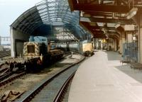 The south side of Newcastle Central in 1981 with a class 03 and a Deltic present.<br><br>[Colin Alexander&nbsp;//1981]