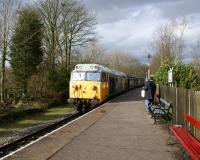 50015 enters Summerseat station on the heritage East Lancashire Railway in March 2012 with a Rawtenstall to Heywood service.<br><br>[John McIntyre&nbsp;03/03/2012]