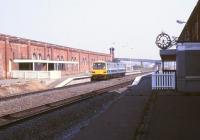 A DMU stands at Stockton station on 16 May 1990. The overall roof was removed and the station 'rationalised' here in 1979 [see image 27210].<br><br>[Ian Dinmore&nbsp;16/05/1990]