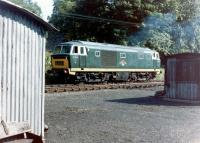 Hymek D7029 in the headshunt alongside the Esk Valley line at Grosmont in August 1981.<br><br>[Colin Alexander&nbsp;/08/1981]