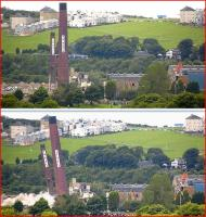 Above - a ScotRail 170 unit passes the doomed chimneys of the Caldwells/Inveresk paper mill at Inverkeithing on 12 August 2012.<br> Below - ten minutes later and the scene changes forever....<br><br>[Bill Roberton&nbsp;12/08/2012]