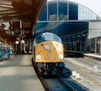 A class 40 stands at Newcastle Central platform 9 with a train in 1981.<br><br>[Colin Alexander&nbsp;//1981]