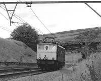 Having earlier worked a train of empty vacuum-braked coal hoppers to Sheffield, 76051 has not found a return load on offer and makes its way back westwards light engine, seen here at Ecklands, west of Penistone, on 17 July 1981. This would almost certainly be its last trip through Woodhead Tunnel. <br><br>[Bill Jamieson&nbsp;17/07/1981]