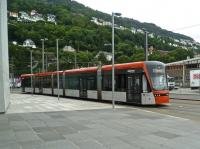 A tram on the Bergen light rail system near the city centre in August 2012.<br><br>[Bruce McCartney 13/08/2012]