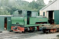 Shed scene at Llanfair in July 1979 featuring 'Monarch', Bagnall-Meyer ex- Bowater's Sittingbourne Railway. <br><br>[Colin Miller&nbsp;/07/1979]