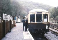 Platform scene at Llwyfan Cerrig on the heritage Gwili Railway in May 1988.<br><br>[Ian Dinmore&nbsp;/05/1988]
