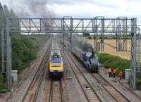 An HST passes 4464 <I>Bittern</I> on the GW main line at Challow on 13 August 2012 [see image 39951].<br><br>[Peter Todd&nbsp;13/08/2012]