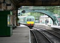 An afternoon DMU service leaves Pickering for Grosmont on 10 July 2012.<br><br>[John Furnevel&nbsp;10/07/2012]