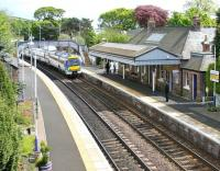A Fife circle train arriving at Aberdour in May 2005 on its way back to Edinburgh.<br><br>[John Furnevel&nbsp;05/05/2005]