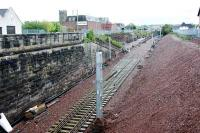 Track enters Larkhall Station from the north.<br><br>[Ewan Crawford&nbsp;22/05/2005]
