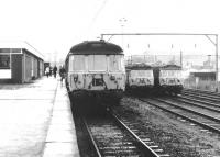 The south side of Airdrie terminus in September 1970. View is east, with a recently arrived train at platform 1 and other units stabled in the adjacent sidings.<br><br>[John Furnevel&nbsp;05/09/1970]