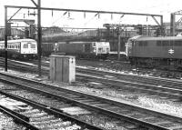 Scene at Crewe station in the summer of 1970, featuring a pair of class 50 locomotives. These had been recently deployed to double head accelerated services operating north of Crewe pending completion of the Weaver Junction - Glasgow electrification.<br><br>[John Furnevel&nbsp;30/06/1970]