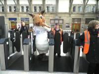<i>'Oops... breathe in!'</i> Sandy the Squirrel negotiates the platform entry gates at Aberdeen on 30 November - see news item. <br><br>[First ScotRail&nbsp;30/11/2011]