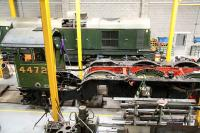Preserved 4472 'Flying Scotsman' still undergoing its major overhaul in the workshops of the National Railway Museum, York, on 25 March 2010. Looks like they've finished work on the nameplate...<br><br>[John Furnevel&nbsp;25/03/2010]