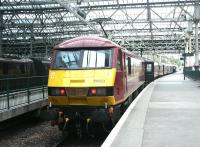 North Berwick train comprised of locomotive hauled slam-door stock standing at Waverley Station in July 2004.<br><br>[John Furnevel&nbsp;16/07/2004]