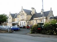 The magnificent (apart from the cars) frontage of Morpeth station - May 2004.<br><br>[John Furnevel&nbsp;28/05/2004]