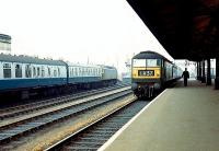 Oxford - May 1969. 1687 approaching with a Worcester - Paddington service while 1111 stands at the northbound platform with a Poole - York train. <br><br>[John Furnevel&nbsp;08/05/1969]