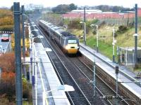 A GNER Aberdeen - Kings Cross HST runs south through Musselburgh in November 2002.<br><br>[John Furnevel&nbsp;12/11/2002]