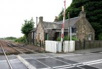 Remains of Halbeath station, Dunfermline, closed to passengers in 1930. View is west from the level crossing in June 2005 towards the sidings used for reversal by trains on the Hunterston-Longannet PS coal suppply route.<br><br>[John Furnevel&nbsp;02/06/2005]