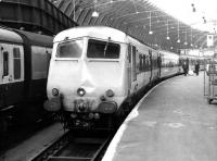 <I>'Pardod by dose...'</I> a depressed looking <I>Bristol Pullman</I>, with modified front-end, stands at Paddington in August 1969.<br><br>[John Furnevel&nbsp;06/08/1969]