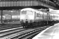 The up 'Bristol Pullman' passes a class 47 hauled train held at signals at Royal Oak on the approach to Paddington station in September 1969.<br><br>[John Furnevel&nbsp;20/09/1969]