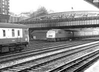 A 'Western' class diesel-hydraulic with a Penzance train passing Royal Oak on the approach to Paddington station in September 1969.<br><br>[John Furnevel&nbsp;20/09/1969]