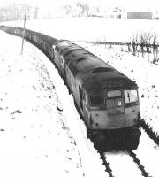 A Waterside - Ayr harbour coal train in Ayrshire snow near Patna in December 1971. <br><br>[John Furnevel&nbsp;01/12/1971]