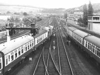 The southern approaches to Perth station in 1970, with a pair of type 2s leaving with an Inverness - Edinburgh train.<br><br>[John Furnevel&nbsp;25/05/1970]