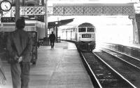 A WCML train from the north arrives at Preston in 1972.<br><br>[John Furnevel&nbsp;02/09/1972]