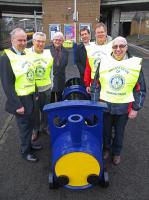 Photocall at Exhibition Centre on 22 February 2012 with (left to right) John Papworth and Bob Holmes of the Rotary Club of Charing Cross, John Yellowlees of ScotRail, Trevor Graham, Gordon Fairbrother and Cameron Shirra, all of Rotary, with 'Barry the Barrel' [see news item]. <br><br>[First ScotRail&nbsp;22/02/2012]