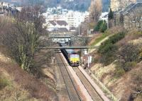 Southbound empties between Gorgie East and Craiglockhart on the Edinburgh sub in March 2002.<br><br>[John Furnevel&nbsp;03/03/2002]