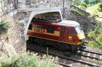 EWS 90029 <I>'The Institution of Civil Engineers'</I> pulls away from Drem station on 15 July 2005 with a North Berwick - Edinburgh train.<br><br>[John Furnevel&nbsp;15/07/2005]