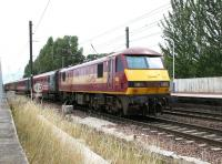 A train for North Berwick leaving Prestonpans on 15 July 2005 with EWS 90039 at the rear.<br><br>[John Furnevel&nbsp;15/07/2005]