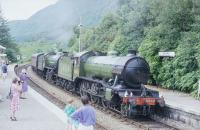 K4 <i>The Great Marquess</i> & K1 No2005 arrive at Glenfinnan with a train for Fort William in 1994.<br><br>[John Gray&nbsp;//1994]