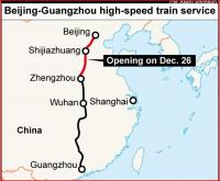 Map showing the new 1,428 mile Beijing - Guangzhou high speed route, the final section of which is scheduled to open on 26 December. [Photo courtesy Asahi Shimbun] <br><br>[See above&nbsp;/12/2012]