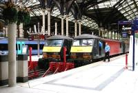 Scene at Liverpool Street in September 2006 with 90011 and 90014 at the buffer stops.<br><br>[John Furnevel&nbsp;19/09/2006]