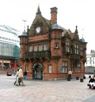 St Enoch Subway - the original building in July 2005, now a travel Centre. The glass palace on the left stands on the site of the former main line station.<br><br>[John Furnevel&nbsp;02/07/2005]