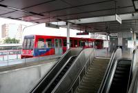 The DLR platforms at Canning Town in July 2005. Built above the original station, the escalators lead down to the North London line, Jubilee line, bus interchange and station exit.<br><br>[John Furnevel&nbsp;22/07/2005]