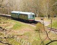 A lone walker appears to be having second thoughts after disembarking from a Keith bound DMU at Drummuir on a Sunday afternoon in May 2012. (He was in fact watching the antics of a Great Spotted Woodpecker in a nearby tree). <br><br>[John Furnevel&nbsp;20/05/2012]