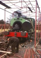 No 3 receiving attention at the Motherwell Bridge (Thermal) engineering works (the former workshops of Scottish Oils Ltd) at Uphall on 23 February 1965. The 0-4-0 locomotive (AB1960/1929) had been purchased from the Broxburn Oil Company a year earlier.<br><br>[Frank Spaven Collection (Courtesy David Spaven)&nbsp;23/02/1965]