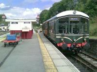 Derby Lightweight single unit M79900 in Platform 3 at Wirksworth on 14 August 2012. This is the starting point for the shuttle service up the 1:30 gradient to Ravenstor on the Ecclesbourne Valley Railway.<br><br>[Malcolm Chattwood&nbsp;14/08/2012]