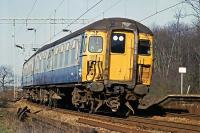 A Class 309 'Clacton' set departs Wivenhoe on 18th February 1984, en route for London. These well regarded units remained in service for a further decade.<br><br>[Mark Dufton&nbsp;18/02/1984]
