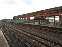 Canopy structures had been removed from much of platforms 2 and 3 at Wakefield Kirkgate by mid July 2012 as a precursor to the removal of most of the former overall roof supporting wall. [See image 39746]<br><br>[David Pesterfield&nbsp;13/07/2012]