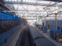 The 18.30 East Coast London Kings Cross Service loading prior to departure from Waverley on a sunny  23 August evening, with a preview of the forthcoming benefits from the renovated station roof.<br><br>[Andrew Wilson&nbsp;23/08/2012]