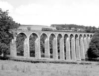 D3888 hauls the last freight over Leaderfoot Viaduct. Photographed on Friday 16 July 1965 on its way back from Greenlaw to St Boswells.<br><br>[Bruce McCartney&nbsp;16/07/1965]