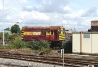 EWS liveried 08752 stands in the sidings at Didcot on 23 August 2012.<br><br>[Peter Todd 23/08/2012]