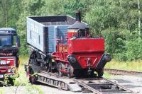 The Head Wrightson Seaham Harbour 0-4-0VBT on a low-loader at Beamish on 22 August 2012, seen from the top deck of a passing tram!<br><br>[Colin Alexander&nbsp;22/08/2012]